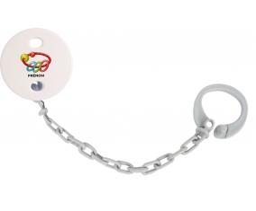 Attache-tétineJouet toys hochet avec prénom couleur Grise