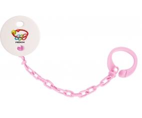 Attache-tétineJouet toys hochet avec prénom couleur Rose clair