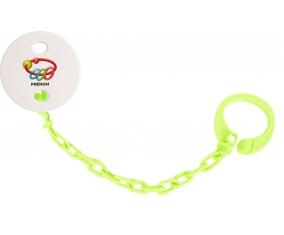 Attache-tétineJouet toys hochet avec prénom couleur Verte