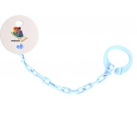 Attache-tétineJouet toys train design-2 avec prénom couleur Bleu ciel