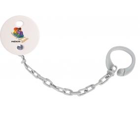 Attache-tétineJouet toys train design-2 avec prénom couleur Grise