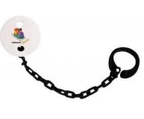 Attache-tétineJouet toys train design-2 avec prénom couleur Noire