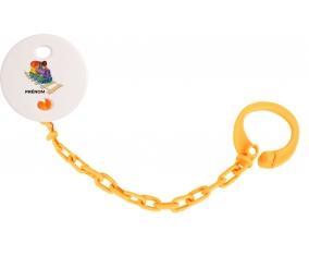Attache-tétineJouet toys train design-2 avec prénom couleur Orange