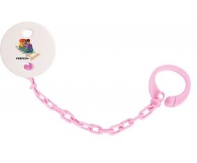 Attache-tétineJouet toys train design-2 avec prénom couleur Rose clair