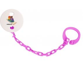 Attache-tétineJouet toys train design-2 avec prénom couleur Rose fuschia
