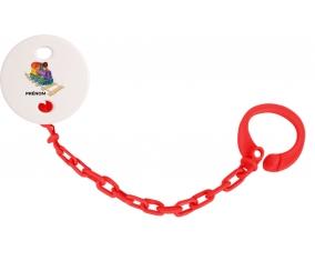 Attache-tétineJouet toys train design-2 avec prénom couleur Rouge