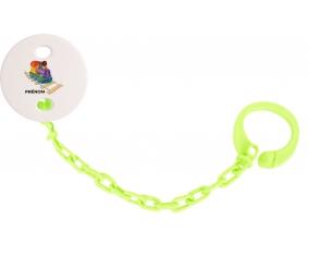 Attache-tétineJouet toys train design-2 avec prénom couleur Verte