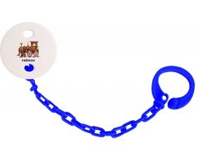 Attache-tétinePeinture train avec prénom couleur Marine