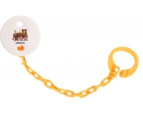 Attache-tétinePeinture train avec prénom couleur Orange