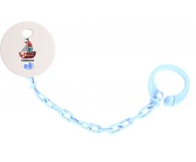 Attache-tétinePeinture bateau avec prénom couleur Bleu ciel