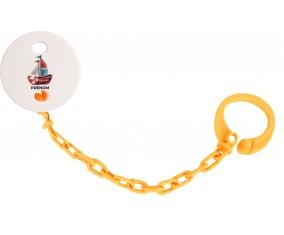 Attache-tétinePeinture bateau avec prénom couleur Orange