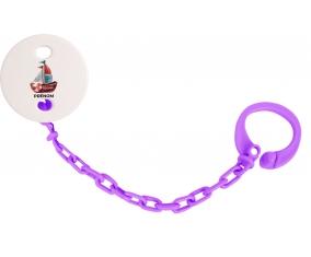 Attache-tétinePeinture bateau avec prénom couleur Violet