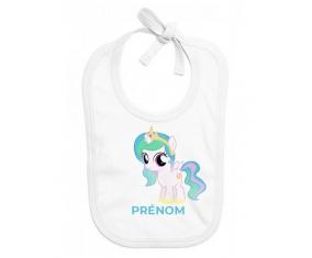 Bavoir bébé personnalisé My Little Pony Princesse Célestia design-1 avec prénom