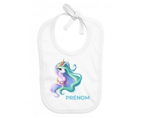Bavoir bébé personnalisé My Little Pony Princesse Célestia design-2 avec prénom