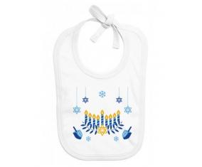Bavoir bébé personnalisé Judaisme : Hanoukkia design-2