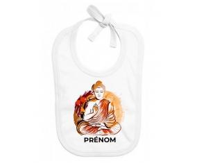 Bavoir bébé personnalisé Bouddhisme méditation zen design-2 avec prénom