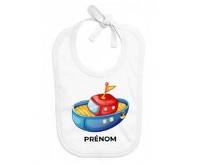 Bavoir bébé personnalisé Jouet toys bateau design-4 avec prénom
