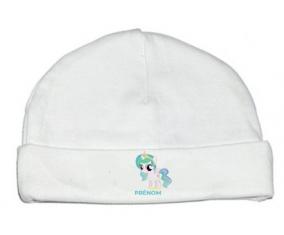 Bonnet bébé personnalisé My Little Pony Princesse Célestia design-1 avec prénom