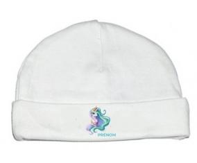 Bonnet bébé personnalisé My Little Pony Princesse Célestia design-2 avec prénom