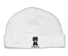 Bonnet bébé personnalisé Batman kids logo design-2 avec prénom