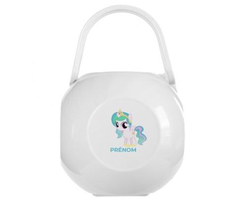 Boîte à tétine My Little Pony Princesse Célestia design-1 avec prénom