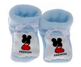 Chausson bébé Disney Mickey Numéro 2 avec prénom de couleur Bleu