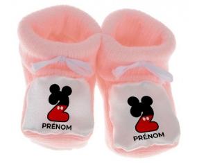 Chausson bébé Disney Mickey Numéro 2 avec prénom de couleur Rose