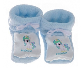 Chausson bébé My Little Pony Princesse Célestia design-1 avec prénom de couleur Bleu