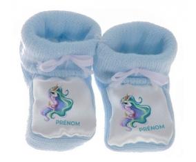 Chausson bébé My Little Pony Princesse Célestia design-2 avec prénom de couleur Bleu