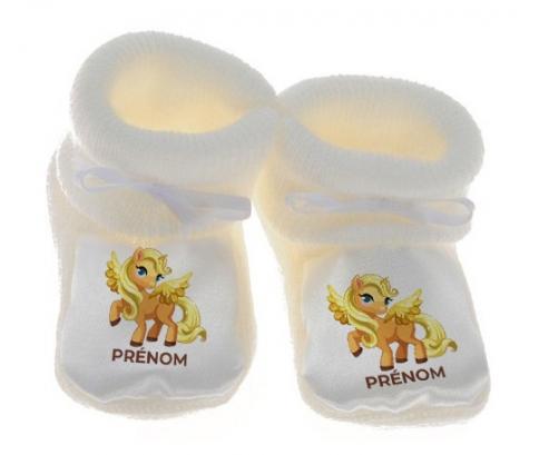 Chausson bébé My Little Pony Applejack avec prénom de couleur Blanc