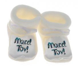Chausson bébé Judaisme : mazel tov hebrew design-3 de couleur Blanc
