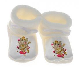 Chausson bébé Hindouisme Ganesha de couleur Blanc
