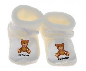 Chausson bébé Jouet toys ours avec prénom de couleur Blanc