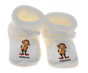 Chausson bébé Jouet toys singe avec prénom de couleur Blanc
