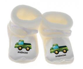 Chausson bébé Jouet toys camionette verte avec prénom de couleur Blanc