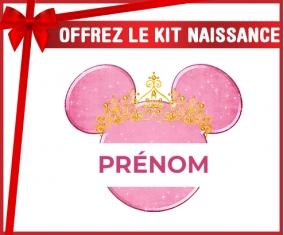 kit naissance bébé personnalisé Disney Minnie rose courone doré avec prénom
