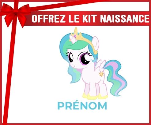 kit naissance bébé personnalisé My Little Pony Princesse Célestia design-1 avec prénom