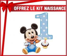 kit naissance bébé personnalisé Disney Mickey Numéro 1 anniversaire