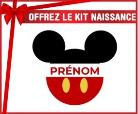 kit naissance bébé personnalisé Disney Mickey short rouge avec prénom