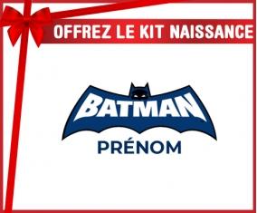 kit naissance bébé personnalisé Batman logo bleu avec prénom