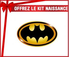 kit naissance bébé personnalisé Batman logo noir et jaune