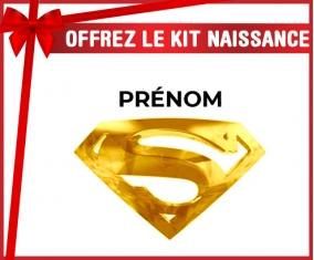 kit naissance bébé personnalisé Logo Superman doré avec prénom
