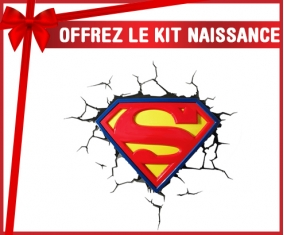 kit naissance bébé personnalisé Logo Superman casse le mur