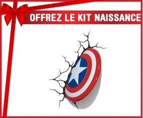 kit naissance bébé personnalisé Bouclier Captain America casse le mur