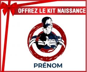kit naissance bébé personnalisé Cible rouge Captain America avec prénom