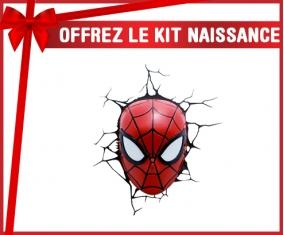 kit naissance bébé personnalisé Tête Spiderman casse le mur