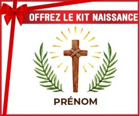 kit naissance bébé personnalisé Croix christ avec prénom