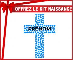 kit naissance bébé personnalisé Croix christ bleue avec prénom