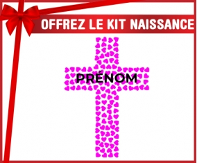 kit naissance bébé personnalisé Croix christ rose avec prénom