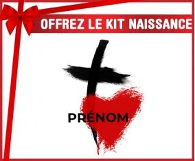 kit naissance bébé personnalisé Croix + cœur avec prénom